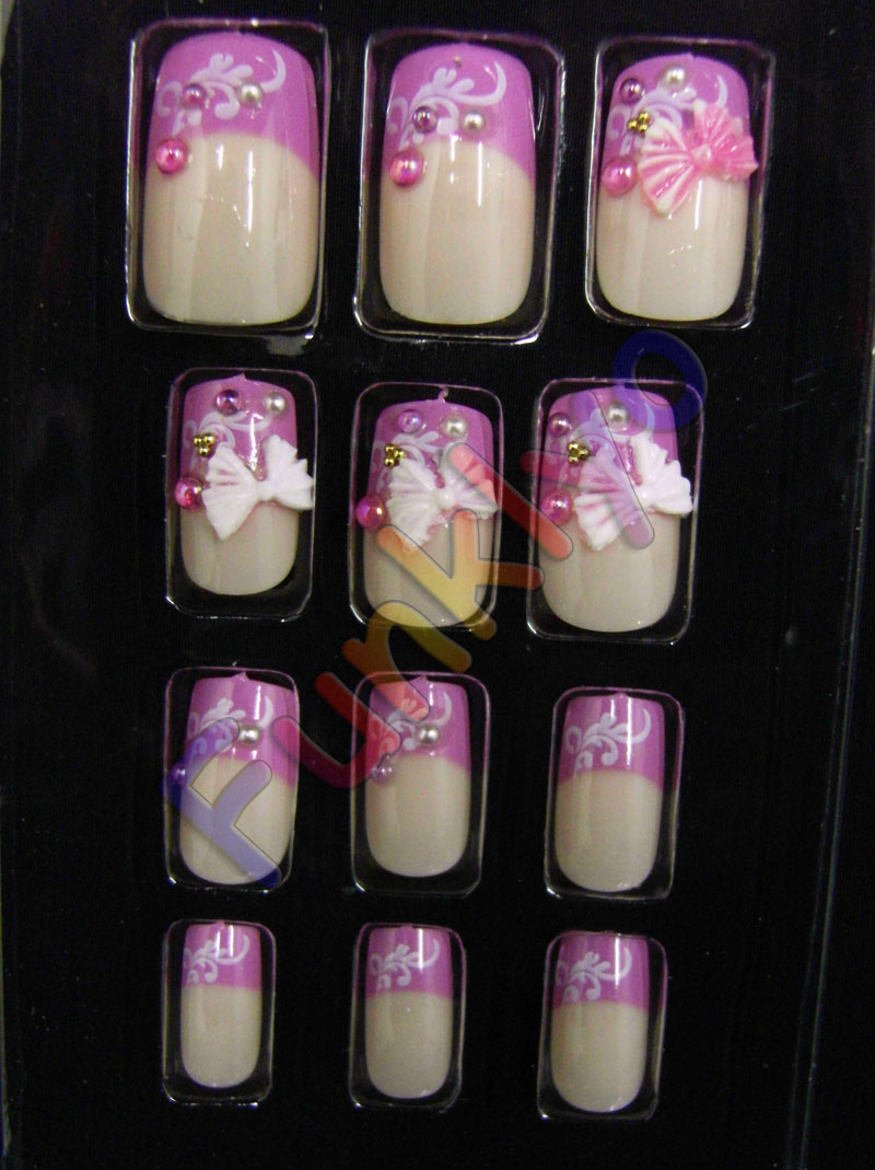 Tips Unghie Finte Decorate French Tip 12 Pz Rosa Chiaro ...