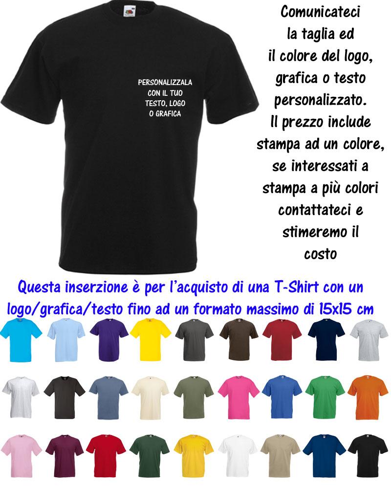 T Shirt Maglia Personalizzata 15x15 Uomo Valueweight Cotone Fruit Of